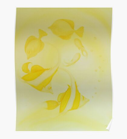 Angel Fish Painting Pretty Pastel Yellow Poster