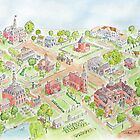 Colonial Williamsburg - A Whimsical Bird's Eye View by johnpbroderick