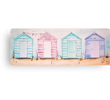 Fun at 593 Pastel Striped Wooden Beach Huts Canvas Print