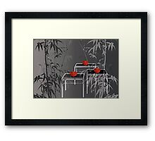 3 red tea bowls Framed Print