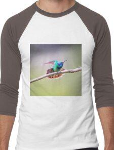 My Secret Garden, Green Violet Eared Hummingbird. Men's Baseball ¾ T-Shirt