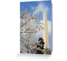 Washington Monument and the Cherry Blossoms Greeting Card