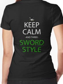 one piece keep calm and three sword style anime manga shirt Women's Fitted V-Neck T-Shirt