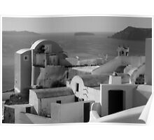 Houses by the Caldera ~ Black & White Poster