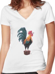 Rooster Silhouette Women's Fitted V-Neck T-Shirt