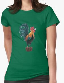 Rooster Silhouette Womens Fitted T-Shirt