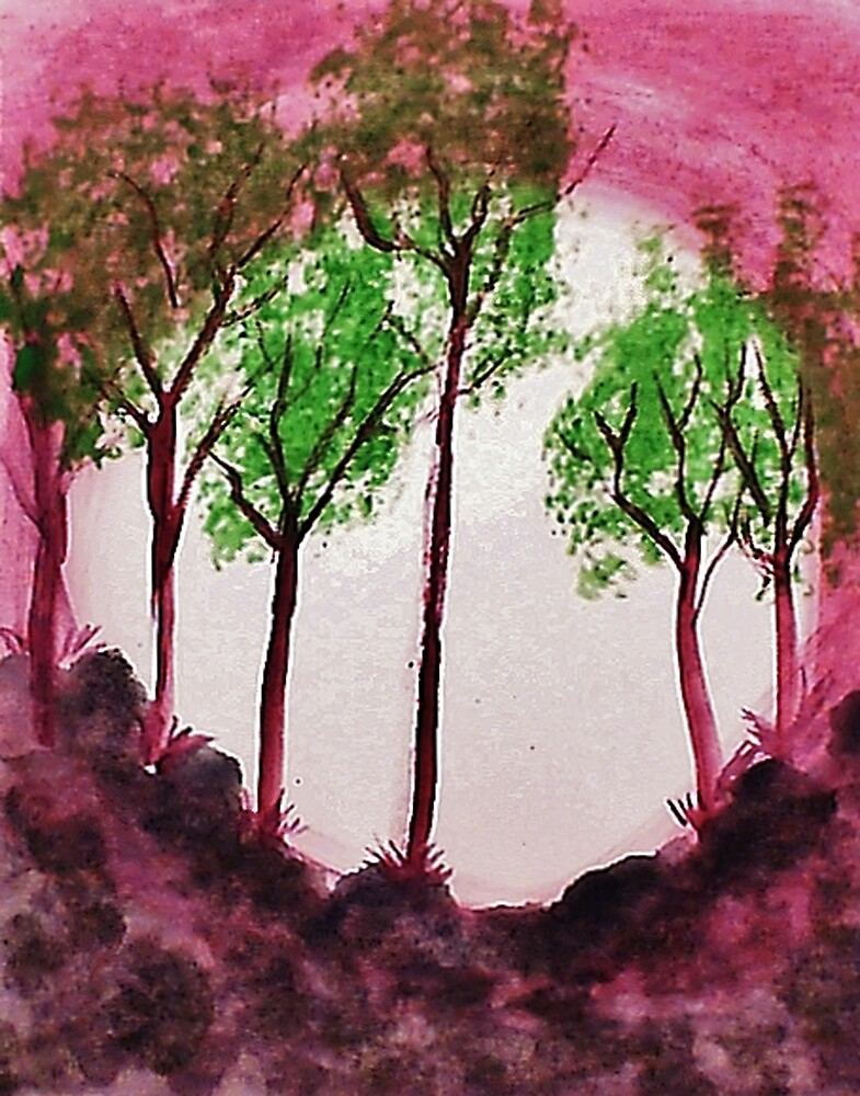 Sunrise Thru the Trees,watercolor  by Anna  Lewis, blind artist