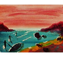 Boat Tied Up in Cove, watercolor Photographic Print