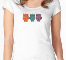 3 Funky Owls Women's Fitted Scoop T-Shirt