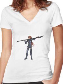 Female Elf Dragon Warrior - 1 Women's Fitted V-Neck T-Shirt