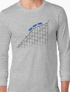 I'm On a Roller Coaster That Only Goes Up (Blue Cars) Long Sleeve T-Shirt