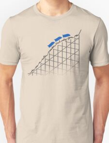 I'm On a Roller Coaster That Only Goes Up (Blue Cars) Unisex T-Shirt