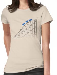 I'm On a Roller Coaster That Only Goes Up (Blue Cars) Womens Fitted T-Shirt