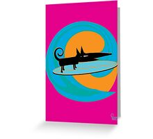 Surf Dog Tube Riding Greeting Card