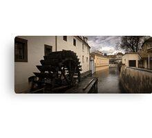 Prague water canal Canvas Print