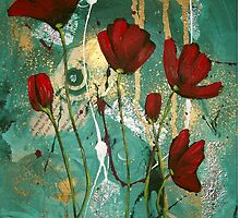 Red Jaded Poppies II by Cherie Roe Dirksen