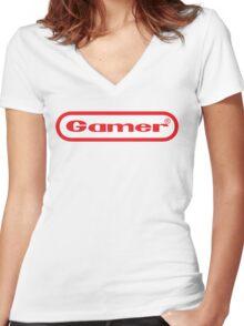 Gamer Shirt Design Women's Fitted V-Neck T-Shirt