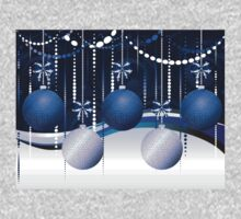 Blue and White Xmas Balls One Piece - Short Sleeve