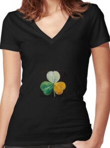 Irish Shamrock Women's Fitted V-Neck T-Shirt