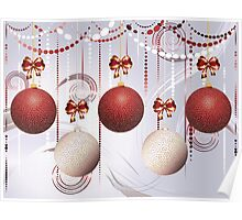 Red and White Xmas Balls Poster