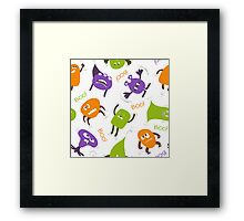 Colorful funny monsters Framed Print