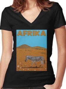 Afrika Women's Fitted V-Neck T-Shirt