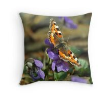 Butterfly on flowers Throw Pillow