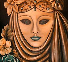 Bronze Carnival Mask by Pamela Plante