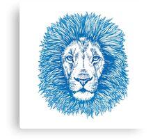 blue line lion Canvas Print