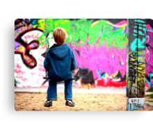 Berlin kid and the wall Canvas Print