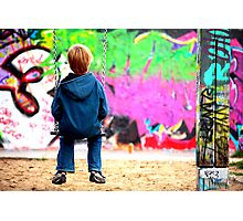 Berlin kid and the wall Photographic Print