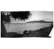 Byron bay beach bw Poster