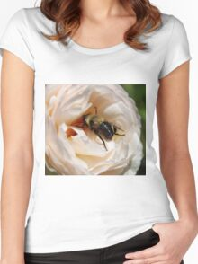 Busy Bee on a Rose Women's Fitted Scoop T-Shirt