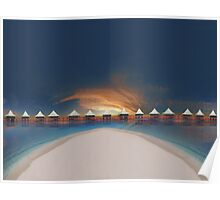 Sunset at tahiti Poster