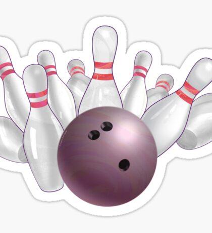 Bowling Ball Pink and Pins Sticker