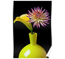 Calla Lilly and Daliha in Yellow Vase Poster