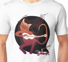 cute singing cat with a guitar after hunting Unisex T-Shirt