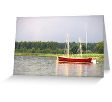 red yacht Greeting Card
