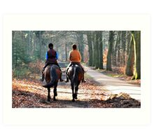 Riding out on a sunny April morning Art Print