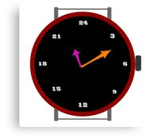 Clock with 24 ours Canvas Print