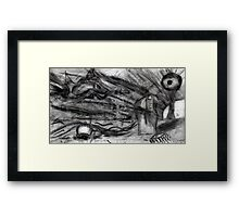 Flying Hand Creatures Fighting Giant Eye In The Sky Framed Print
