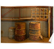 Old drums in the shearing shed Poster