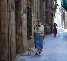 Barcelona - Lady and the dog. by Jean-Luc Rollier