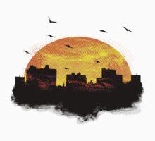 Cool Sunset - City Skyline - Cute Birds Baby Tee
