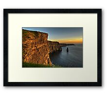 Scenic Irish Sunset Nature Landscape Rural Countryside Photography. The Cliffs of Moher Mohair Seascape, County Clare, Ireland Irlanda. Framed Print