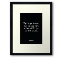 Manhattan - Woody Allen's Greatest Lines Framed Print