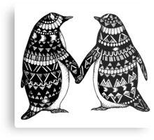 Penguin Couple Metal Print