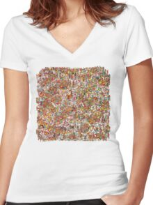Where is wally in this product? Women's Fitted V-Neck T-Shirt