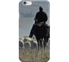 Cowboy Herding Sheep in the Mountains iPhone Case/Skin