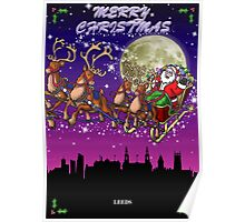 Here comes Santa Claus - Leeds skyline Poster